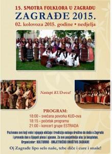 Plakat Smotra folklora Zagrađe 2.8.2015.